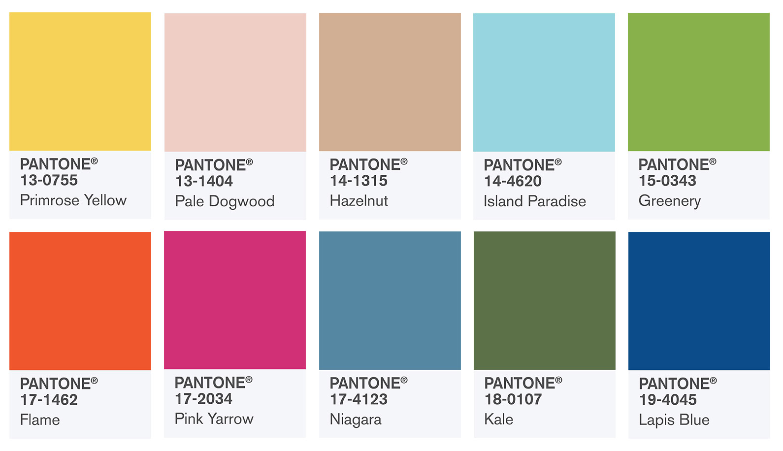 Pantone Color Swatches Fashion Report Fall 2017